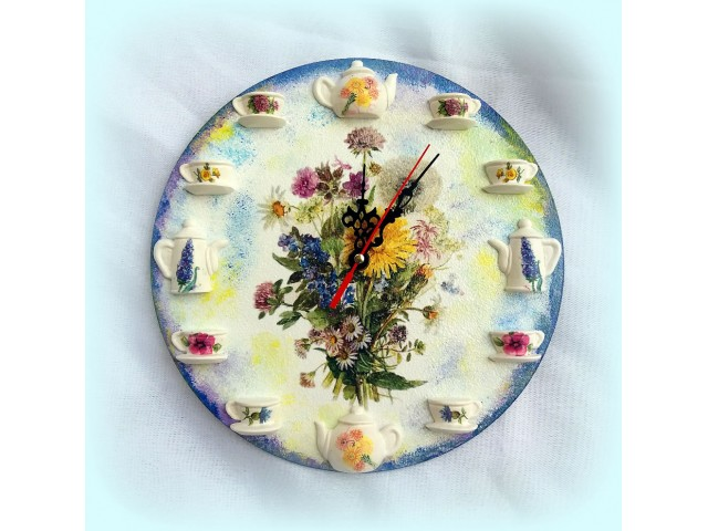 Ceas de perete flori de camp 120709