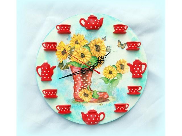 Ceas de perete - floarea soarelui cu buline 1596