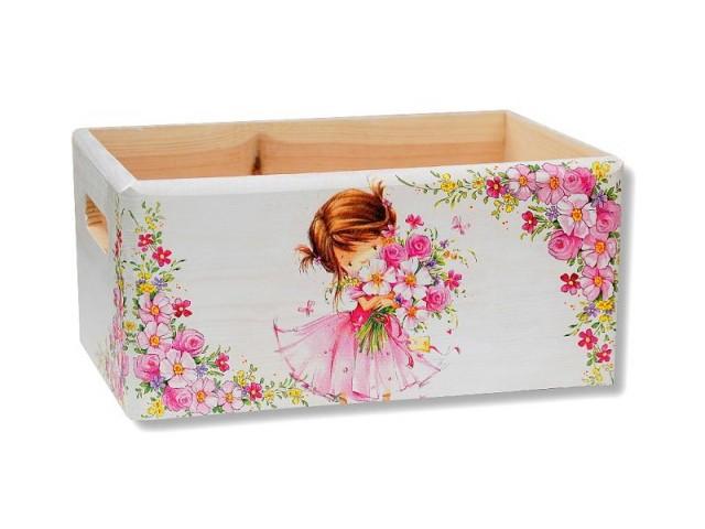 Ladita lemn model fetita cu flori 8431