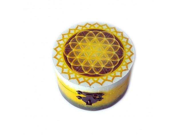 Cutie rotunda lemn cu model floarea vietii 125908
