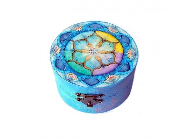Cutie rotunda lemn cu model mandala 125723