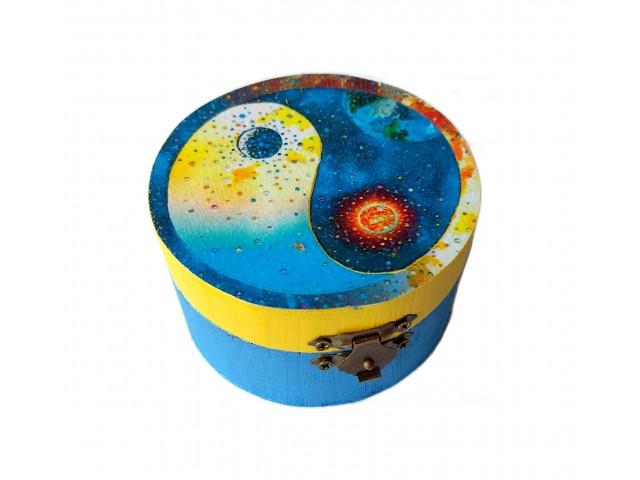 Cutie rotunda cu model Yin Yang 170615