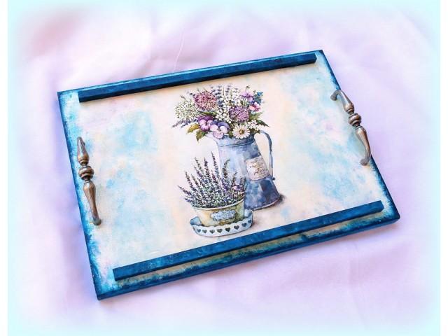 Tava lemn - lavanda si flori de camp  - 1552